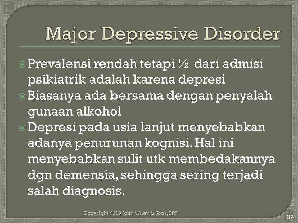 Copyright 2009 John Wiley & Sons, NY 24  Prevalensi rendah tetapi ½ dari admisi psikiatrik adalah karena depresi  Biasanya ada bersama dengan penyalah gunaan alkohol  Depresi pada usia lanjut menyebabkan adanya penurunan kognisi.