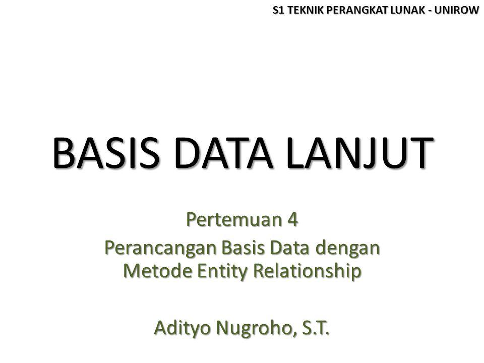 Pokok Bahasan Pertemuan 3 Konsep Entity Relationship Konsep Entity Relationship Field / Atribut Kunci Field / Atribut Kunci Langkah-Langkah Perancangan Langkah-Langkah Perancangan S1 TEKNIK PERANGKAT LUNAK - UNIROW