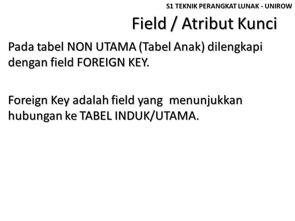 Field / Atribut Kunci Pada tabel NON UTAMA (Tabel Anak) dilengkapi dengan field FOREIGN KEY.