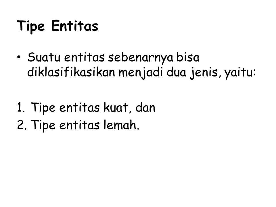 Tipe Entitas Suatu entitas sebenarnya bisa diklasifikasikan menjadi dua jenis, yaitu: 1.Tipe entitas kuat, dan 2.Tipe entitas lemah.
