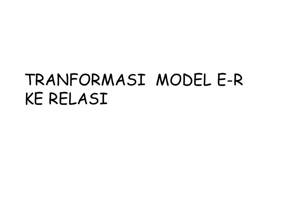 TRANFORMASI MODEL E-R KE RELASI