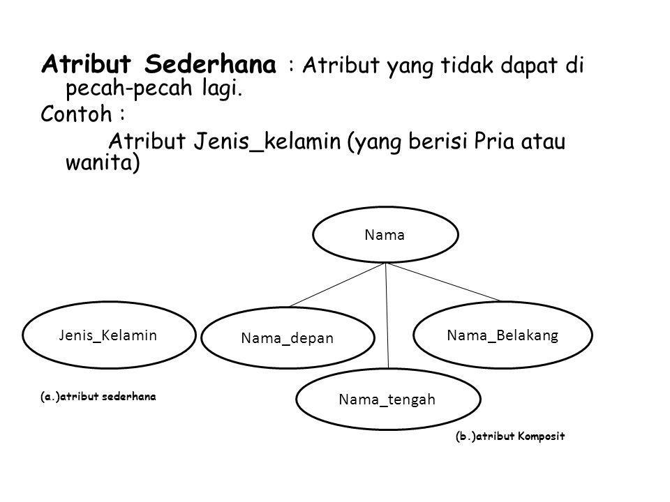 Atribut Sederhana : Atribut yang tidak dapat di pecah-pecah lagi. Contoh : Atribut Jenis_kelamin (yang berisi Pria atau wanita) (a.)atribut sederhana