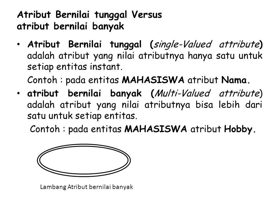 Atribut Bernilai tunggal Versus atribut bernilai banyak Atribut Bernilai tunggal (single-Valued attribute) adalah atribut yang nilai atributnya hanya satu untuk setiap entitas instant.