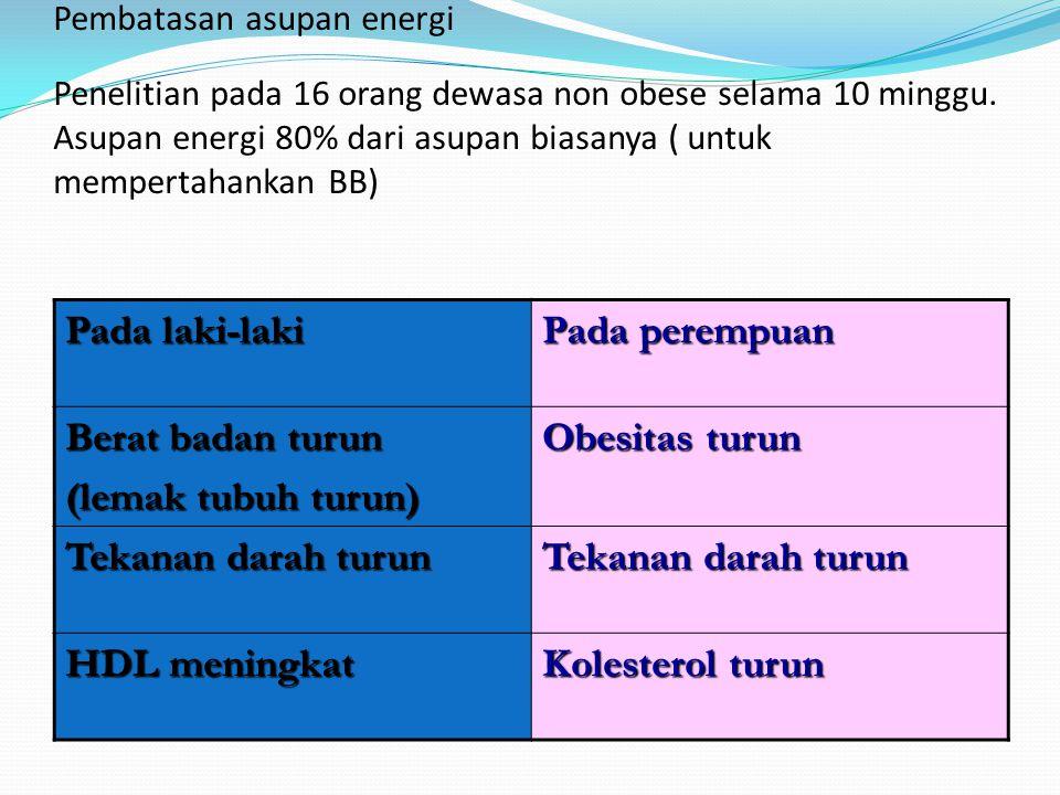 Pembatasan asupan energi Penelitian pada 16 orang dewasa non obese selama 10 minggu. Asupan energi 80% dari asupan biasanya ( untuk mempertahankan BB)