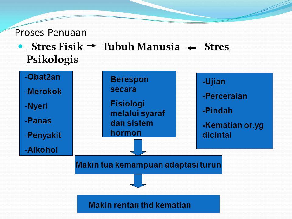 Proses Penuaan Stres Fisik Tubuh Manusia Stres Psikologis Berespon secara Fisiologi melalui syaraf dan sistem hormon -Obat2an -Merokok -Nyeri -Panas -