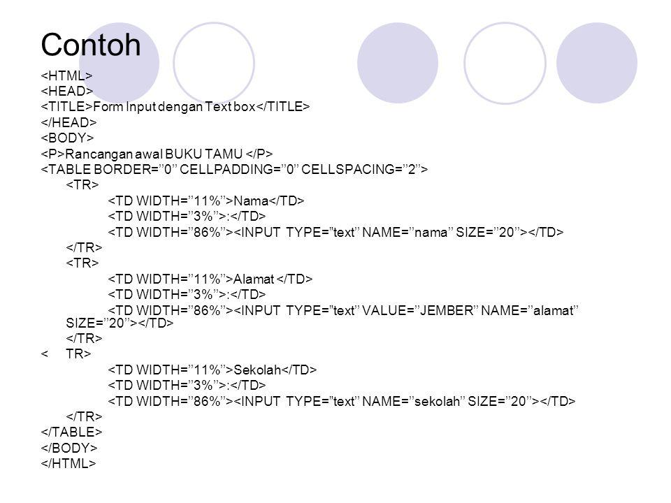 Contoh Form Input dengan Text box Rancangan awal BUKU TAMU Nama : Alamat : Sekolah :