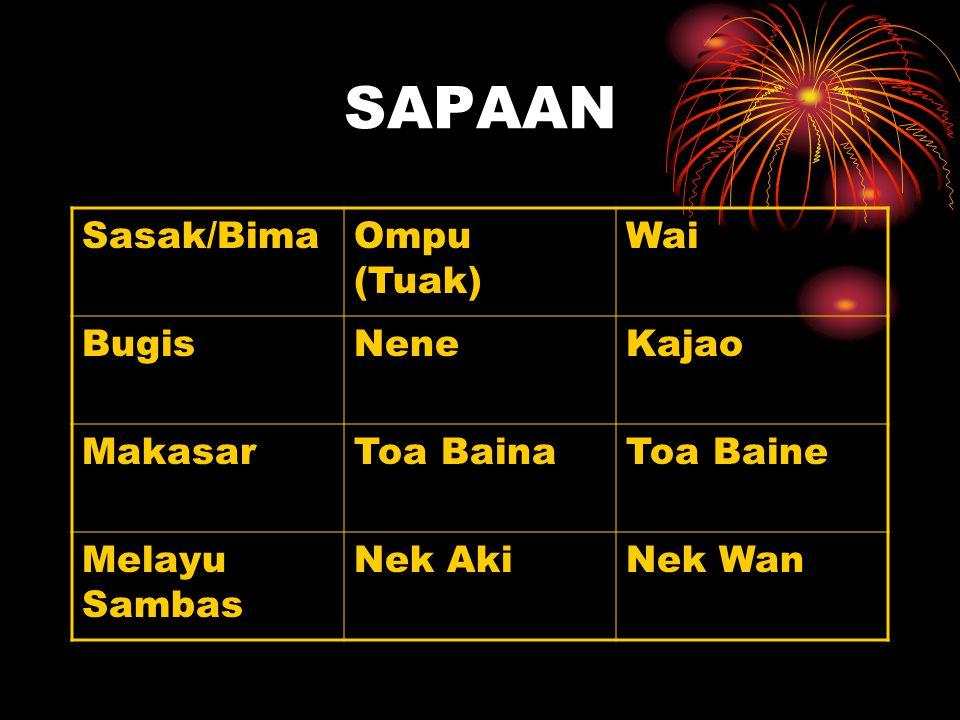 SAPAAN Sasak/BimaOmpu (Tuak) Wai BugisNeneKajao MakasarToa BainaToa Baine Melayu Sambas Nek AkiNek Wan