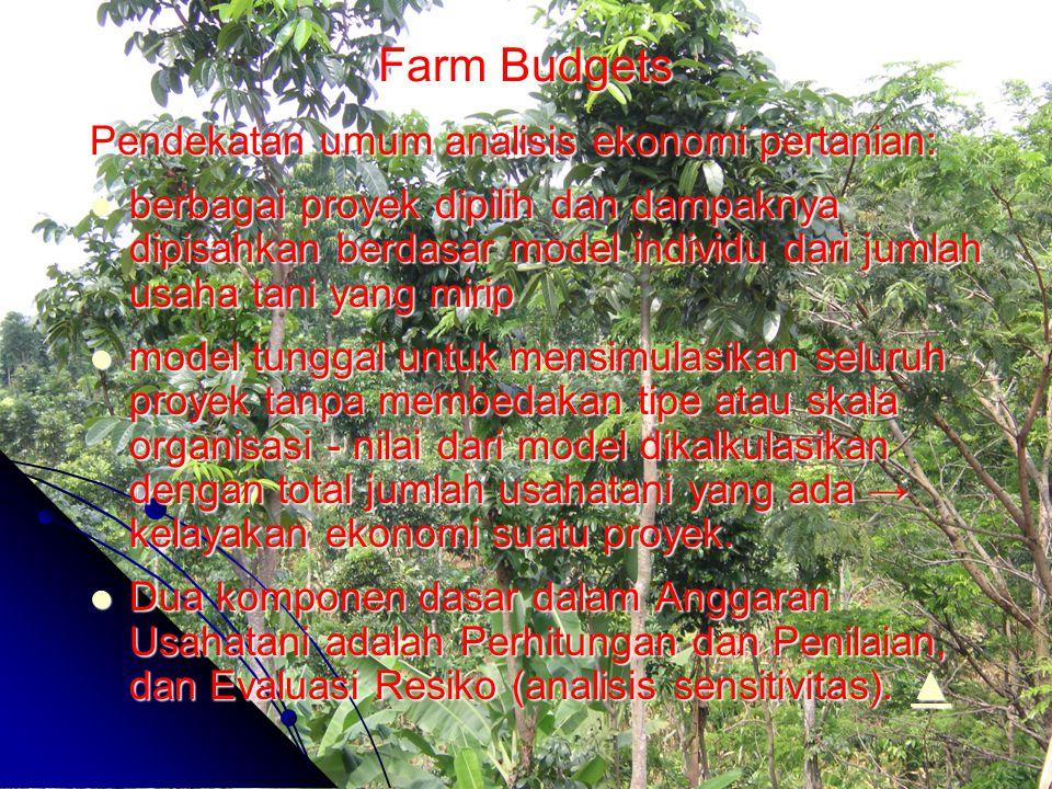 Farm Budgets Pendekatan umum analisis ekonomi pertanian: berbagai proyek dipilih dan dampaknya dipisahkan berdasar model individu dari jumlah usaha ta