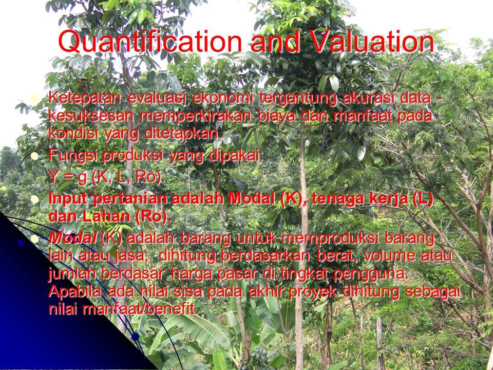 Quantification and Valuation Ketepatan evaluasi ekonomi tergantung akurasi data - kesuksesan memperkirakan biaya dan manfaat pada kondisi yang ditetap