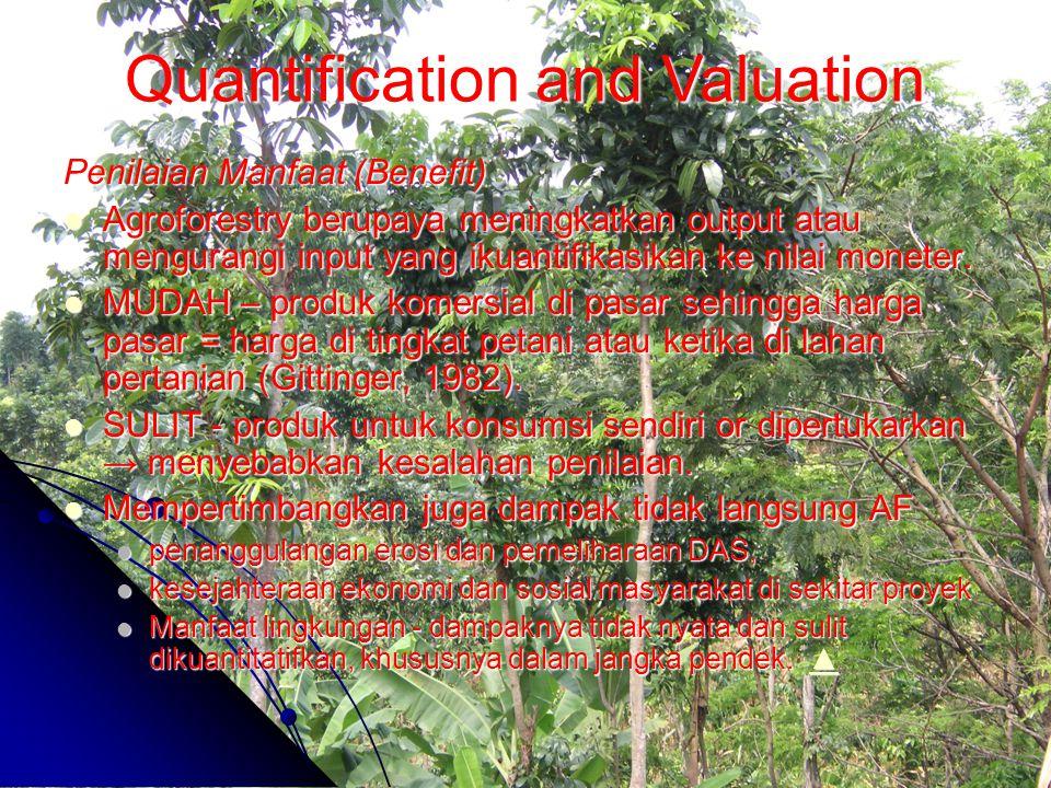 Penilaian Manfaat (Benefit) Agroforestry berupaya meningkatkan output atau mengurangi input yang ikuantifikasikan ke nilai moneter. Agroforestry berup