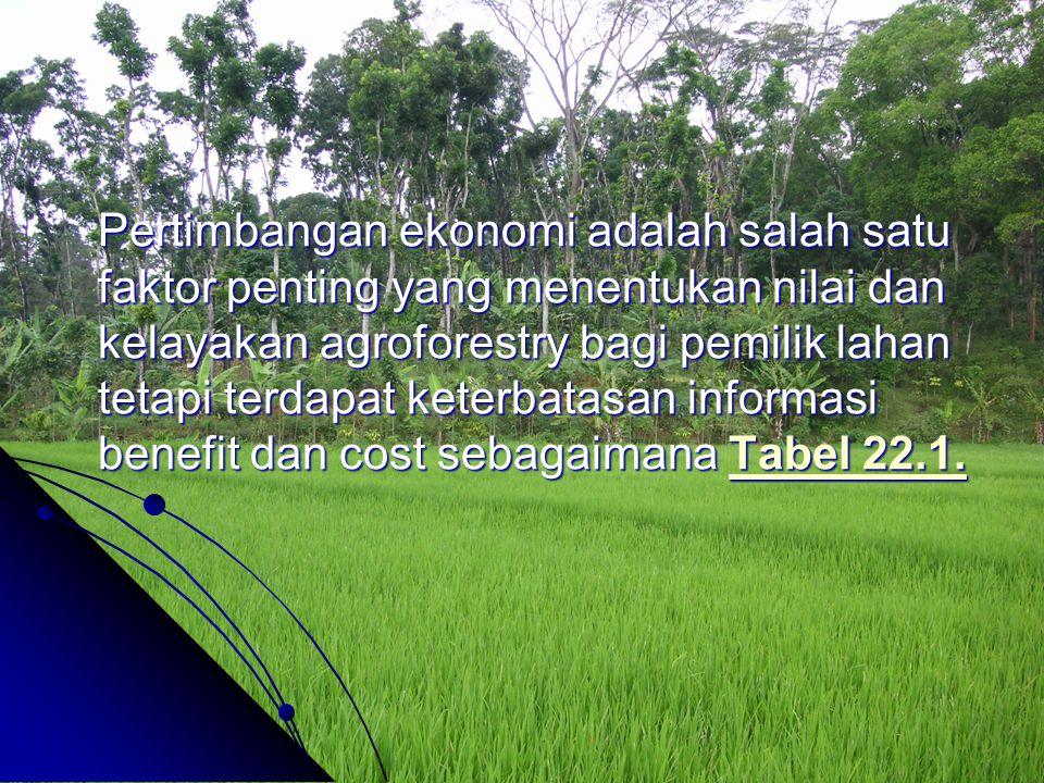 Pertimbangan ekonomi adalah salah satu faktor penting yang menentukan nilai dan kelayakan agroforestry bagi pemilik lahan tetapi terdapat keterbatasan