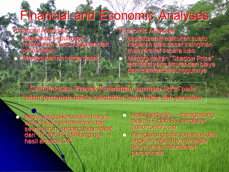 Financial and Economic Analyses Financial Analyses kelayakan keputusan melakukan suatu kegiatan dari perorangan. kelayakan keputusan melakukan suatu k