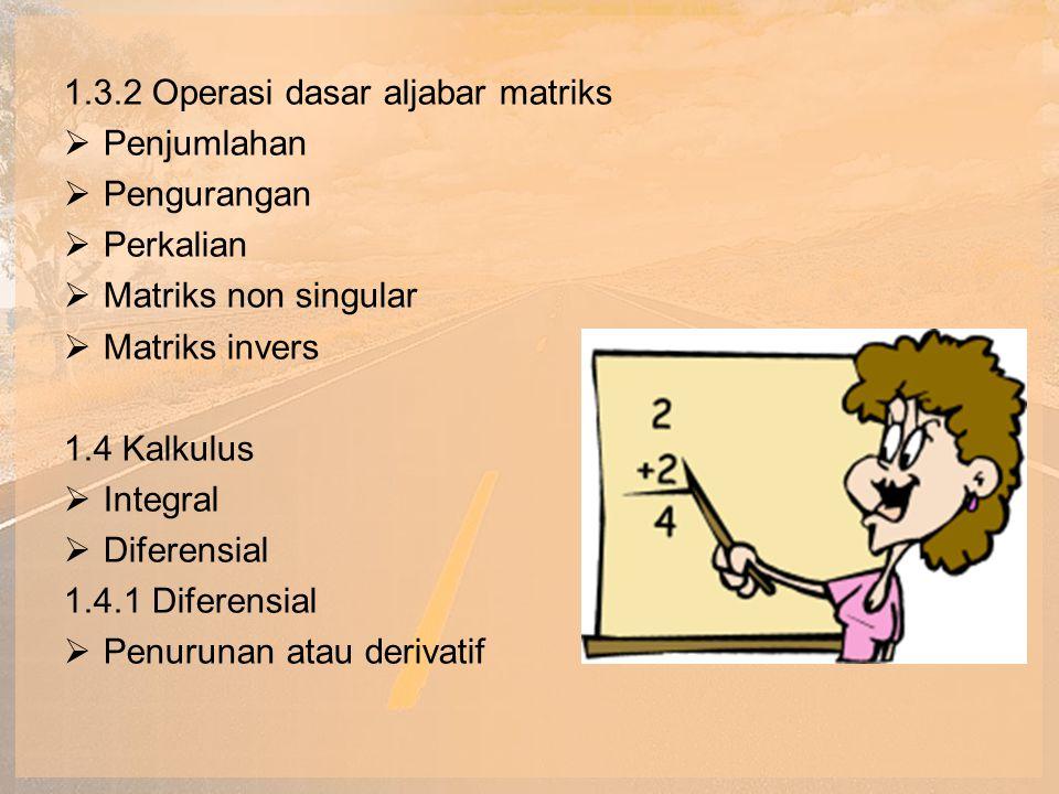 1.4.2 Integral  Arbitrari 1.4.3 Fungsi logaritma dan eksponensial  Logaritma natural  Konstanta Nepper 1.4.4 Mencari nilai fungsi maksimum dan minimum  Titik infleksi  Titik optimum global  Titik optimum lokal