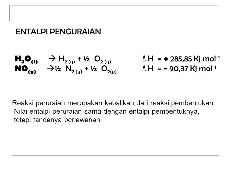 ENTALPI PENGURAIAN H 2 O (l)  H 2 (g) + ½ O 2 (g) ∆ H = + 285,85 Kj mol -1 NO (g)  ½ N 2 (g) + ½ O 2(g) ∆ H = − 90,37 Kj mol -1 Reaksi peruraian mer
