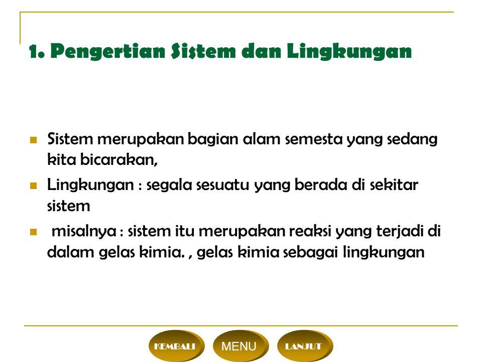 Mg dilarutkan dalam HCl Mg, HCl = sistem Gelas = lingkungan Interaksi antara sistem dan lingkungan dapat berupa pertukaran materi dan atau pertukaran energi