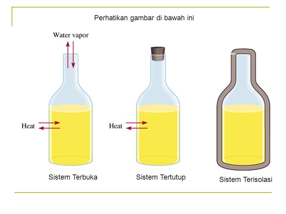 Sistem dibedakan menjadi tiga : Sistem terbuka : adalah suatu sistem yang memungkinkan pertukaran kalor dan materi antara sistem dan lingkungan Na (s) + H 2 O (l)  NaOH (aq) + ½ H 2 (g) H 2 yang terbentuk dan kalor yang dihasilkan akan keluar dari sistem menuju ke lingkungan KEMBALI MENU LANJUT