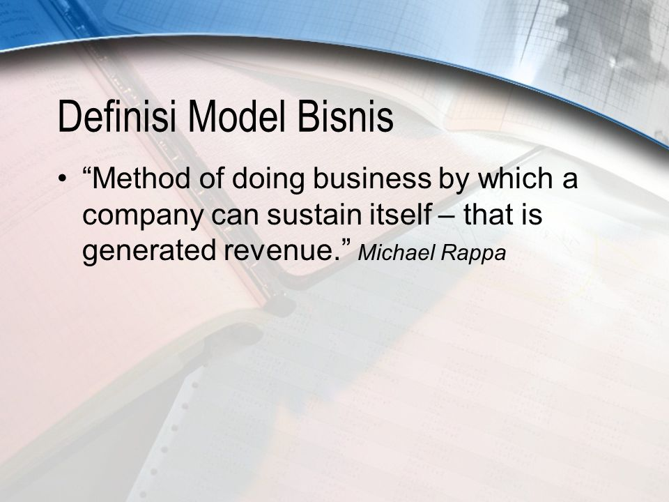 Jenis Model Bisnis eCommerce Menurut Michael Rappa, model bisnis dalam eCommerce dibagi menjadi : BrokerageAdvertisingInfomediary MerchantManufacturerAffiliate CommunitySubscriptionUtility Pada sebuah strategi situs web terkadang kombinasi antar beberapa model bisnis digunakan untuk menghasilkan keuntungan bagi organisasi.
