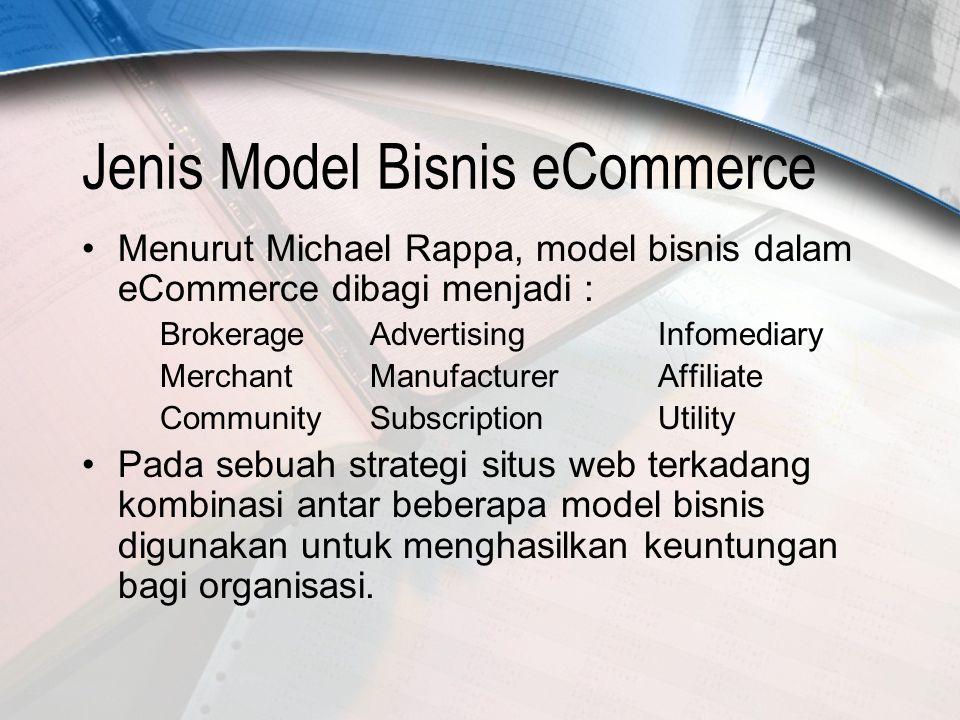 4 Model Bisnis e-Commerce Business Model: metoda melakukan usaha yang dapat menghasilkan revenue bagi perusahaan untuk menjamin kelangsungan hidupnya Tiga komponen utama: –Target konsumen dan potensinya –Modal persaingan: formula produk dan layanan –Profit yang dapat diperoleh