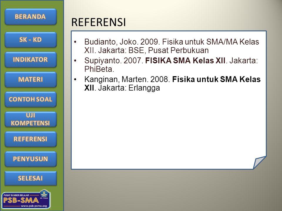 REFERENSI Budianto, Joko. 2009. Fisika untuk SMA/MA Kelas XII. Jakarta: BSE, Pusat Perbukuan Supiyanto. 2007. FISIKA SMA Kelas XII. Jakarta: PhiBeta.