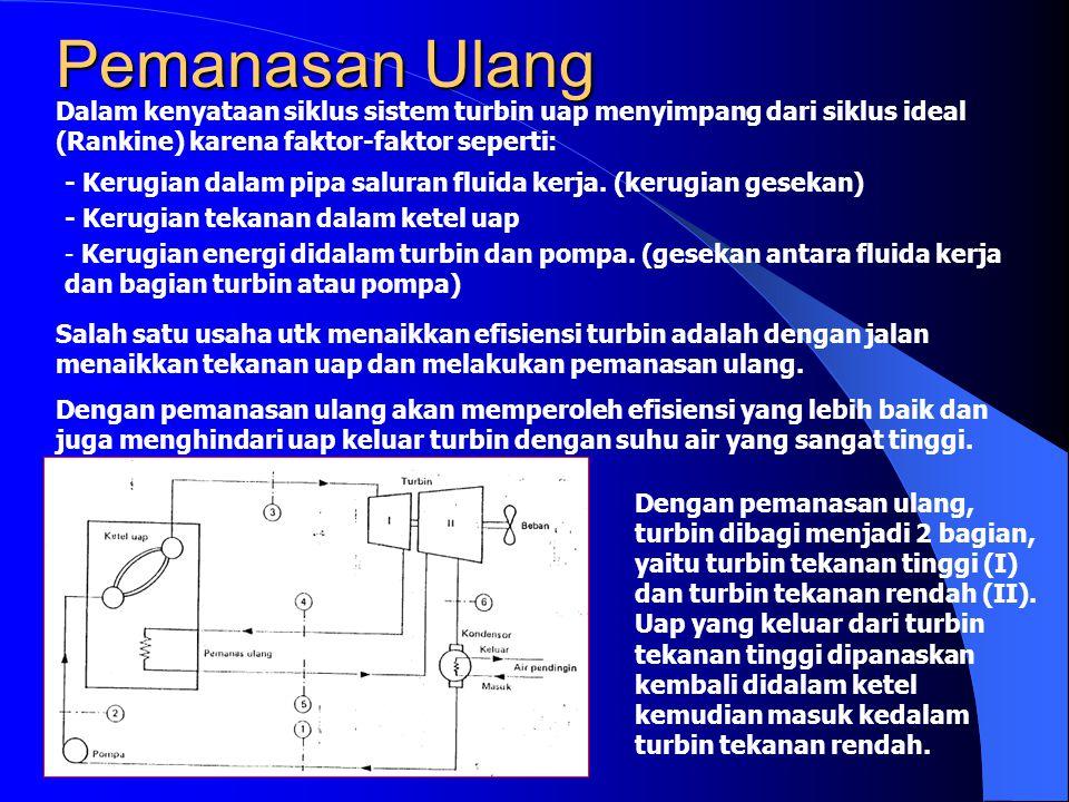 Pemanasan Ulang Dalam kenyataan siklus sistem turbin uap menyimpang dari siklus ideal (Rankine) karena faktor-faktor seperti: - Kerugian dalam pipa sa
