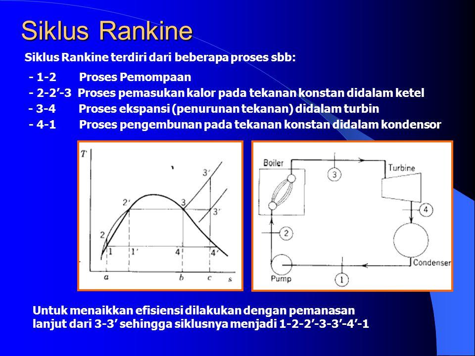 Siklus Rankine Siklus Rankine terdiri dari beberapa proses sbb: - 1-2 Proses Pemompaan - 2-2'-3 Proses pemasukan kalor pada tekanan konstan didalam ke