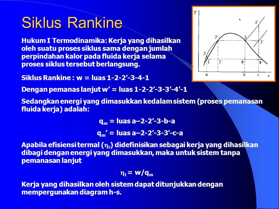 Siklus Rankine Hukum I Termodinamika: Kerja yang dihasilkan oleh suatu proses siklus sama dengan jumlah perpindahan kalor pada fluida kerja selama pro