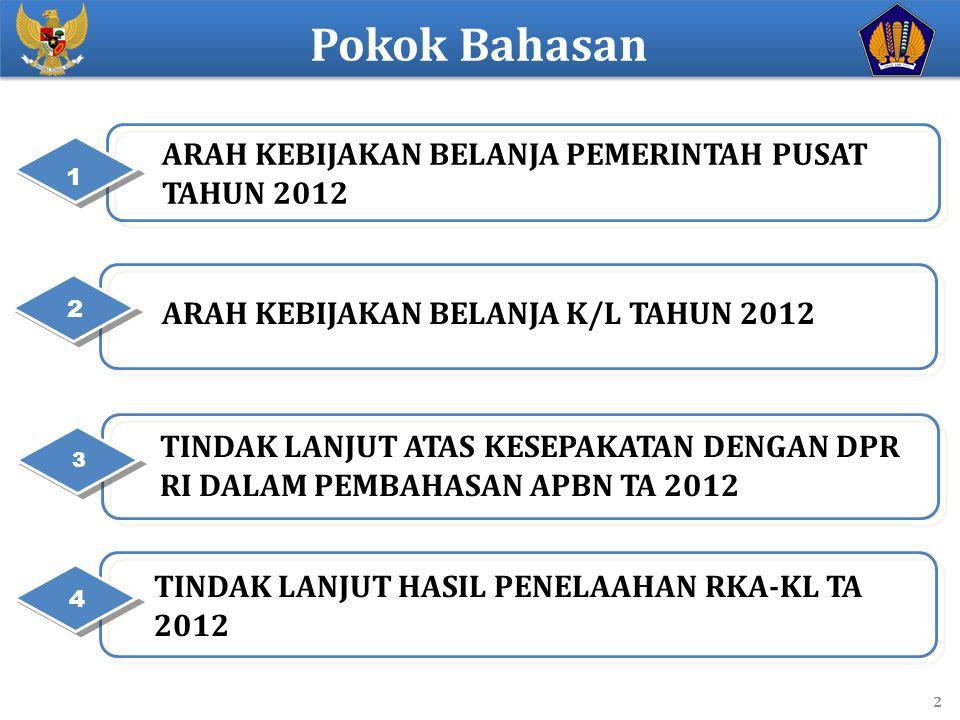 Pokok Bahasan ARAH KEBIJAKAN BELANJA PEMERINTAH PUSAT TAHUN 2012 1 2 1 2 ARAH KEBIJAKAN BELANJA K/L TAHUN 2012 2 TINDAK LANJUT ATAS KESEPAKATAN DENGAN