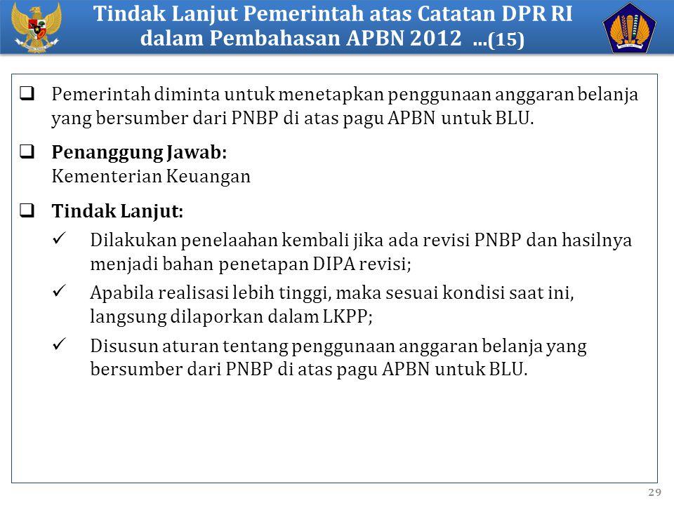  Pemerintah diminta untuk menetapkan penggunaan anggaran belanja yang bersumber dari PNBP di atas pagu APBN untuk BLU.  Penanggung Jawab: Kementeria
