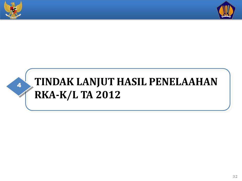 TINDAK LANJUT HASIL PENELAAHAN RKA-K/L TA 2012 4 32