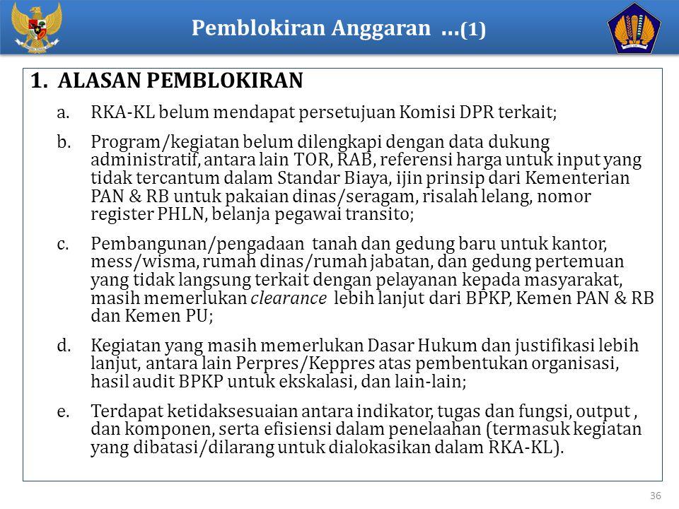 1. ALASAN PEMBLOKIRAN a.RKA-KL belum mendapat persetujuan Komisi DPR terkait; b.Program/kegiatan belum dilengkapi dengan data dukung administratif, an
