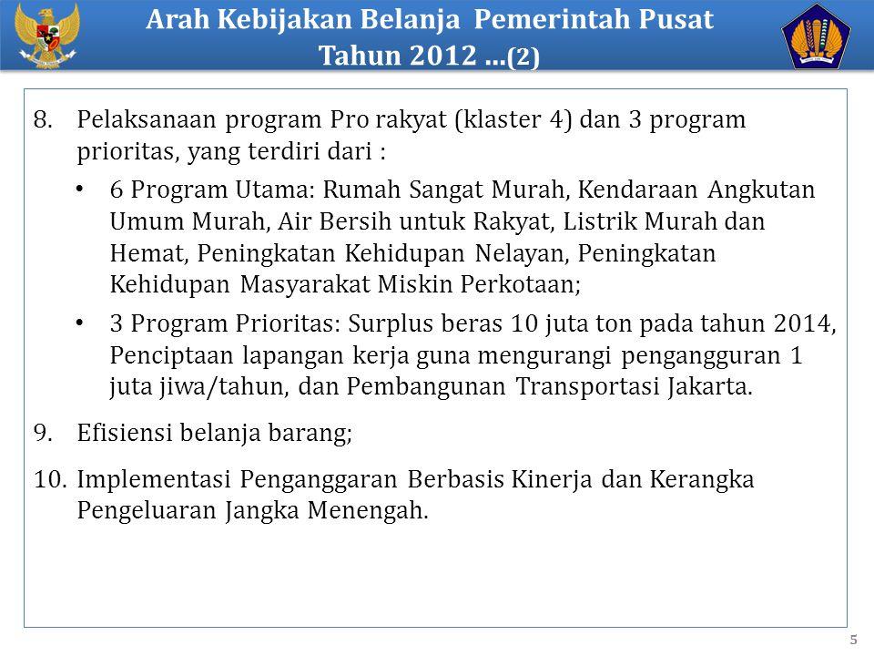 8.Pelaksanaan program Pro rakyat (klaster 4) dan 3 program prioritas, yang terdiri dari : 6 Program Utama: Rumah Sangat Murah, Kendaraan Angkutan Umum