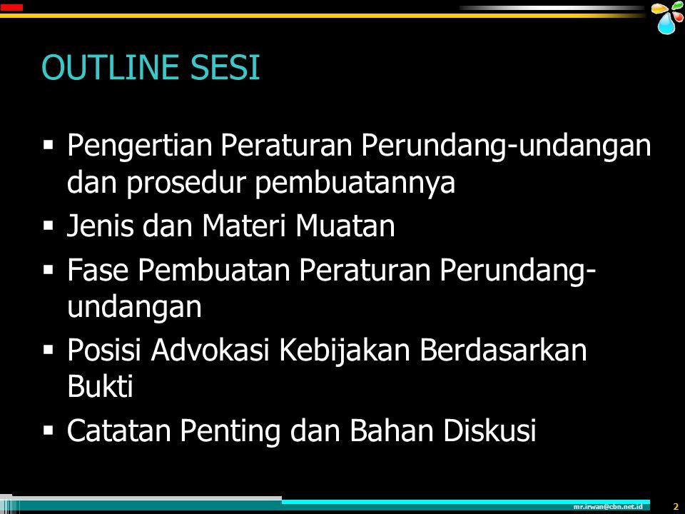 mr.irwan@cbn.net.id 3 PENGERTIAN  Peraturan Perundang-undangan adalah Peraturan tertulis yang dibentuk oleh lembaga negara atau pejabat yang berwenang dan mengikat secara umum.