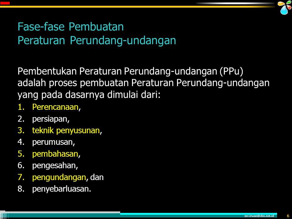 mr.irwan@cbn.net.id 7 Proses Pembentukan Peraturan Perundang-undangan (UU No. 10 Tahun 2004)