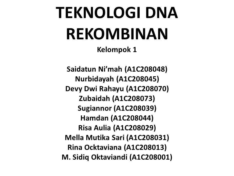 TEKNOLOGI DNA REKOMBINAN Kelompok 1 Saidatun Ni'mah (A1C208048) Nurbidayah (A1C208045) Devy Dwi Rahayu (A1C208070) Zubaidah (A1C208073) Sugiannor (A1C208039) Hamdan (A1C208044) Risa Aulia (A1C208029) Mella Mutika Sari (A1C208031) Rina Ocktaviana (A1C208013) M.