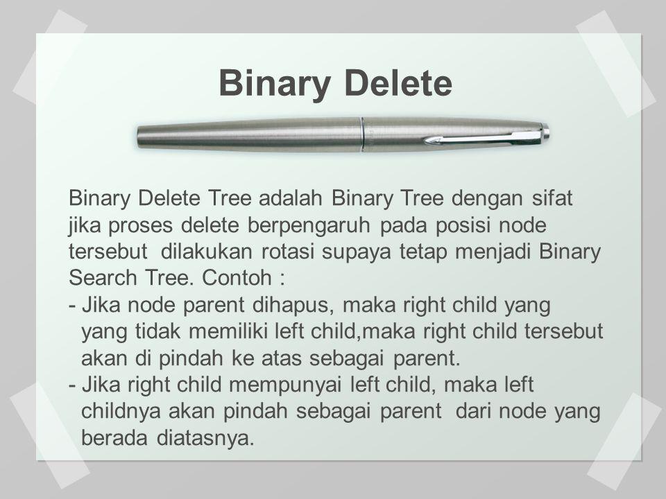 Binary Delete Binary Delete Tree adalah Binary Tree dengan sifat jika proses delete berpengaruh pada posisi node tersebut dilakukan rotasi supaya tetap menjadi Binary Search Tree.