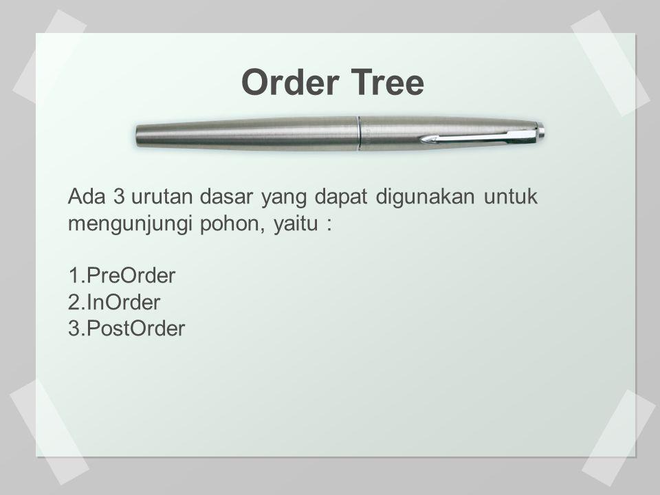 Ada 3 urutan dasar yang dapat digunakan untuk mengunjungi pohon, yaitu : 1.PreOrder 2.InOrder 3.PostOrder Order Tree