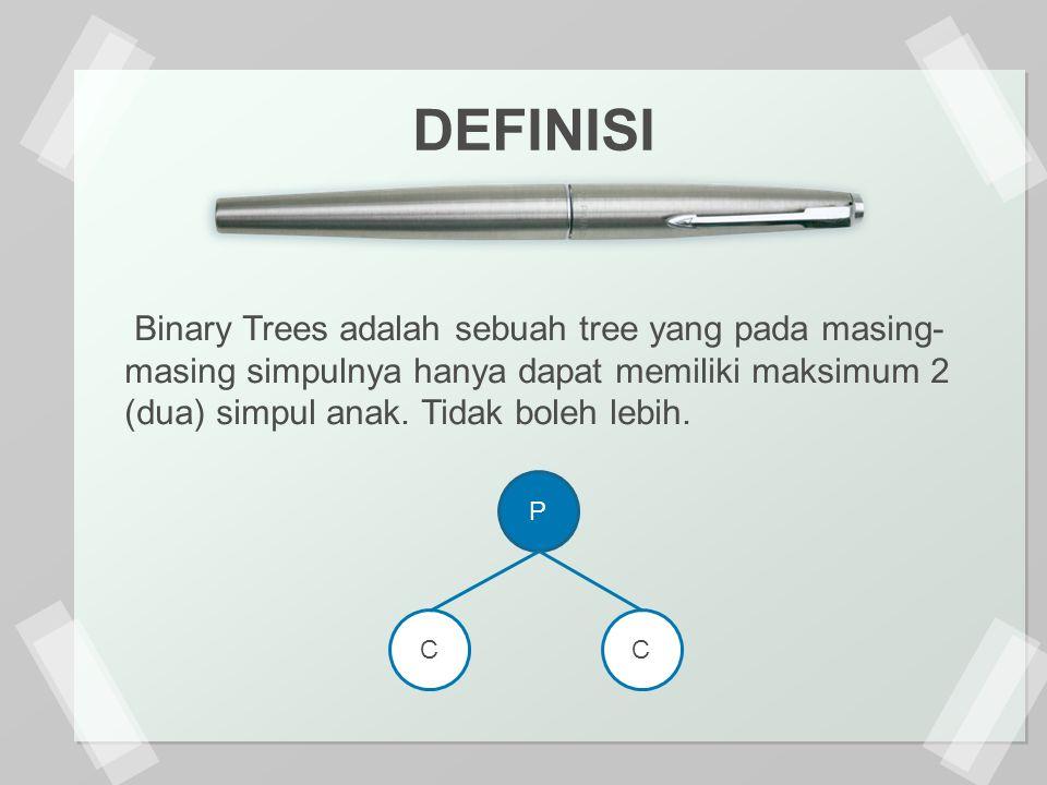 Binary Trees adalah sebuah tree yang pada masing- masing simpulnya hanya dapat memiliki maksimum 2 (dua) simpul anak.