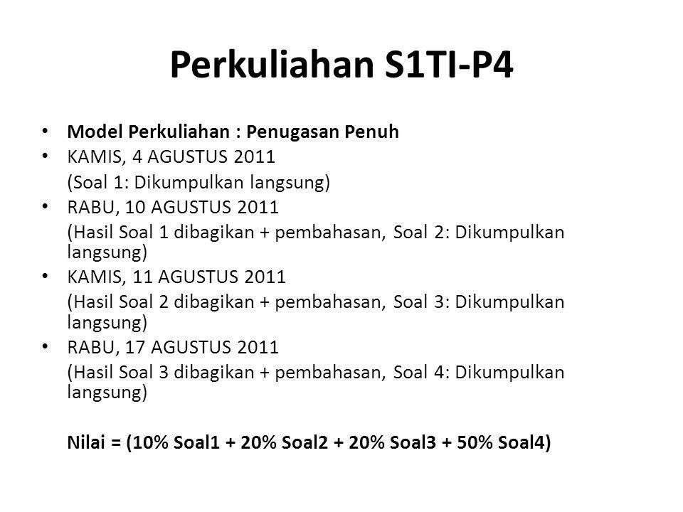 Perkuliahan S1TI-P4 Model Perkuliahan : Penugasan Penuh KAMIS, 4 AGUSTUS 2011 (Soal 1: Dikumpulkan langsung) RABU, 10 AGUSTUS 2011 (Hasil Soal 1 dibag