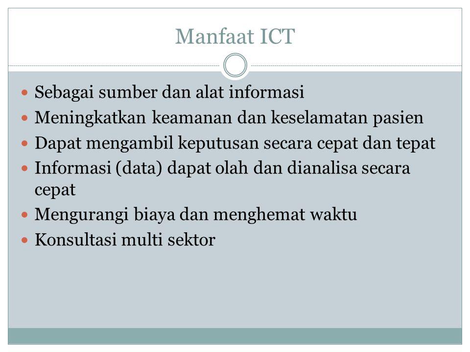 Peran ICT Dalam Emergency Agar ICT berfungsi secara efektif Koordinasi Efisiensi tindakan Mempercepat responstime Pengelolaan data Konsultasi Perlu regulasi yang jelas Kersediaan dana untuk pengadaan ICT SDM yang memadai Suasana politik yang mendukung Jaminan keamanan ICT Dalam Gawat Darurat