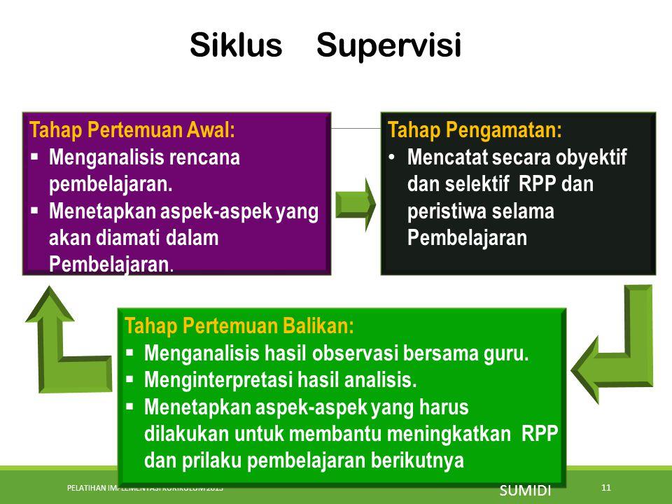 PELATIHAN IMPLEMENTASI KURIKULUM 2013 11 Siklus Supervisi Tahap Pertemuan Awal:  Menganalisis rencana pembelajaran.  Menetapkan aspek-aspek yang aka