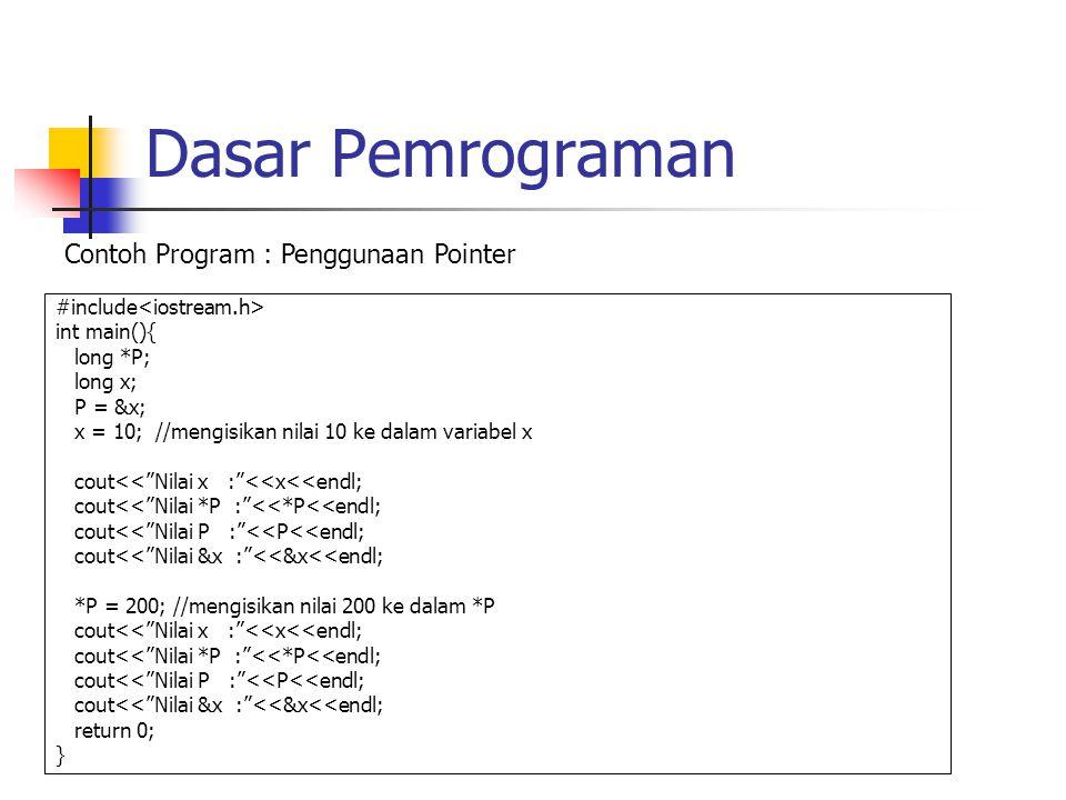 Dasar Pemrograman #include int main(){ long *P; long x; P = &x; x = 10; //mengisikan nilai 10 ke dalam variabel x cout<< Nilai x : <<x<<endl; cout<< Nilai *P : <<*P<<endl; cout<< Nilai P : <<P<<endl; cout<< Nilai &x : <<&x<<endl; *P = 200; //mengisikan nilai 200 ke dalam *P cout<< Nilai x : <<x<<endl; cout<< Nilai *P : <<*P<<endl; cout<< Nilai P : <<P<<endl; cout<< Nilai &x : <<&x<<endl; return 0; } Contoh Program : Penggunaan Pointer