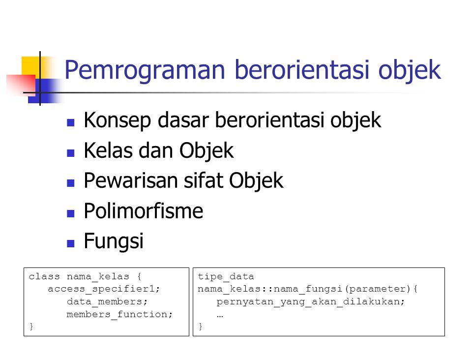 Pemrograman berorientasi objek Konsep dasar berorientasi objek Kelas dan Objek Pewarisan sifat Objek Polimorfisme Fungsi class nama_kelas { access_specifier1; data_members; members_function; } tipe_data nama_kelas::nama_fungsi(parameter){ pernyatan_yang_akan_dilakukan; … }