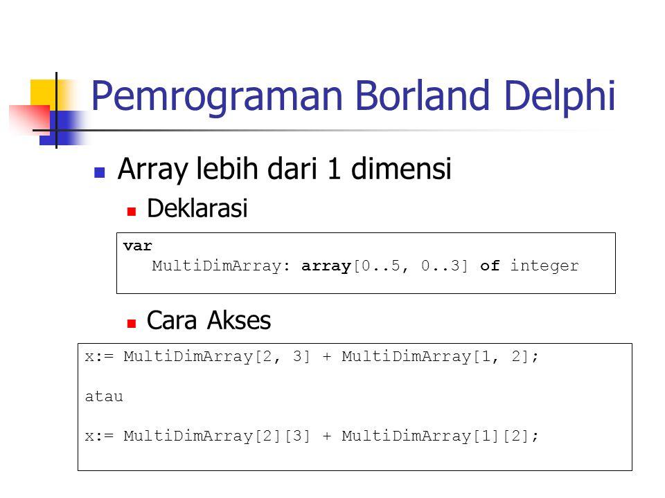 Pemrograman Borland Delphi Array lebih dari 1 dimensi Deklarasi Cara Akses var MultiDimArray: array[0..5, 0..3] of integer x:= MultiDimArray[2, 3] + MultiDimArray[1, 2]; atau x:= MultiDimArray[2][3] + MultiDimArray[1][2];