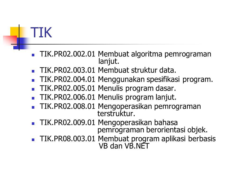 TIK TIK.PR02.002.01 Membuat algoritma pemrograman lanjut. TIK.PR02.003.01 Membuat struktur data. TIK.PR02.004.01 Menggunakan spesifikasi program. TIK.