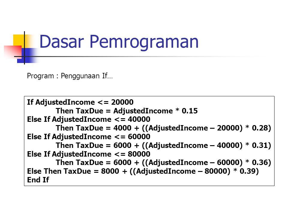 Dasar Pemrograman If AdjustedIncome <= 20000 Then TaxDue = AdjustedIncome * 0.15 Else If AdjustedIncome <= 40000 Then TaxDue = 4000 + ((AdjustedIncome – 20000) * 0.28) Else If AdjustedIncome <= 60000 Then TaxDue = 6000 + ((AdjustedIncome – 40000) * 0.31) Else If AdjustedIncome <= 80000 Then TaxDue = 6000 + ((AdjustedIncome – 60000) * 0.36) Else Then TaxDue = 8000 + ((AdjustedIncome – 80000) * 0.39) End If Program : Penggunaan If…