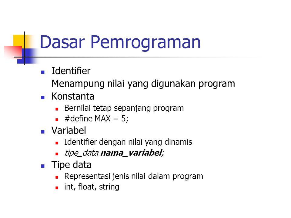 Dasar Pemrograman Identifier Menampung nilai yang digunakan program Konstanta Bernilai tetap sepanjang program #define MAX = 5; Variabel Identifier de