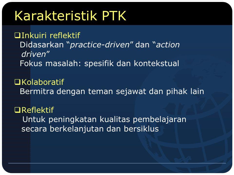 """Karakteristik PTK  Inkuiri reflektif Didasarkan """"practice-driven"""" dan """"action driven"""" Fokus masalah: spesifik dan kontekstual  Kolaboratif Bermitra"""