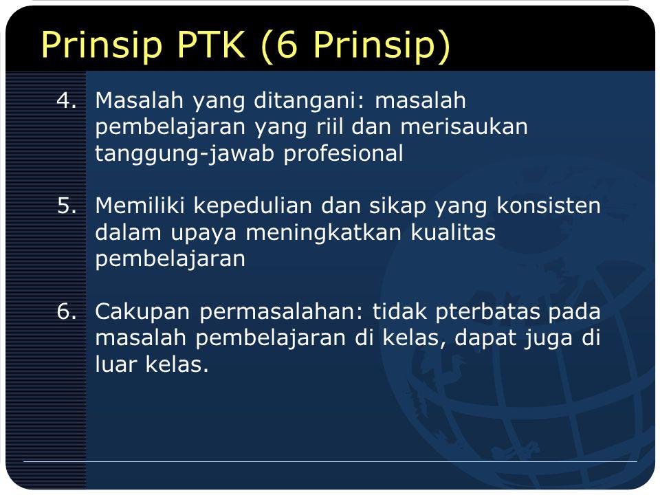 Prinsip PTK (6 Prinsip) 4.Masalah yang ditangani: masalah pembelajaran yang riil dan merisaukan tanggung-jawab profesional 5.Memiliki kepedulian dan s