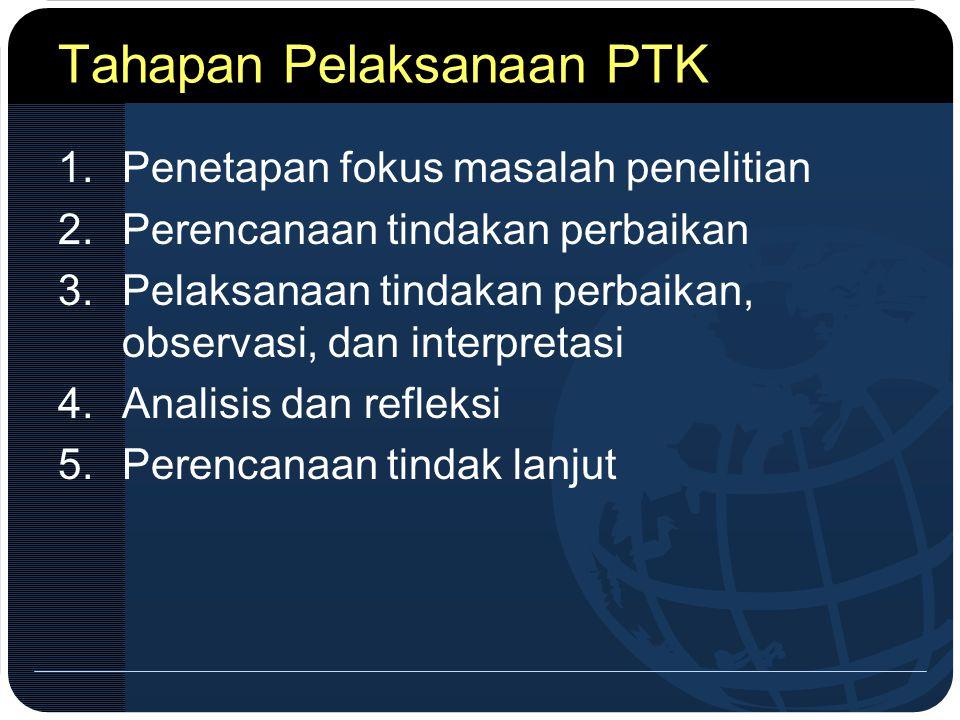 Tahapan Pelaksanaan PTK 1.Penetapan fokus masalah penelitian 2.Perencanaan tindakan perbaikan 3.Pelaksanaan tindakan perbaikan, observasi, dan interpr