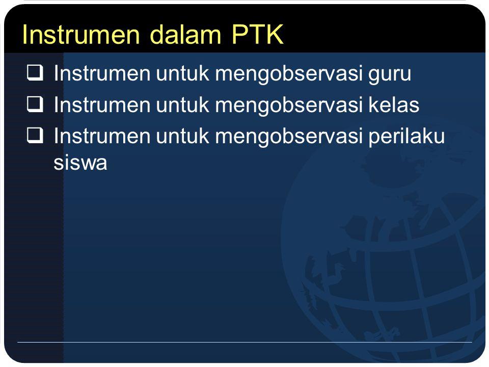 Instrumen dalam PTK  Instrumen untuk mengobservasi guru  Instrumen untuk mengobservasi kelas  Instrumen untuk mengobservasi perilaku siswa